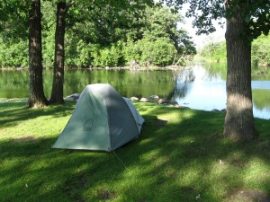 An action shot of the tent by the Pelican River -- Pelican Rapids, MN
