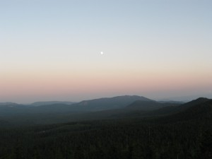 Moonrise over Berry Mountain.