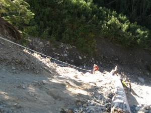 There were a few hazardous sections of trail heading up to Blue Glacier.